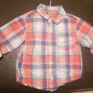 Carters plaid long sleeved shirt